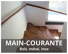 Main-courante, rampe, en bois, métal, inox