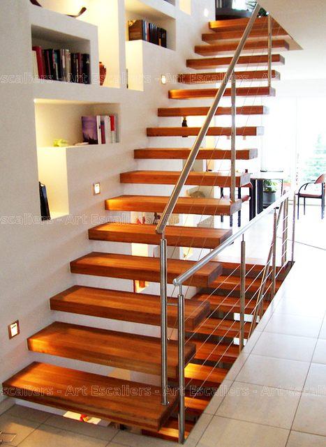 Escalier design autoporteur droit bois chene garde corps inox 01 artescaliers - Escalier design bois ...