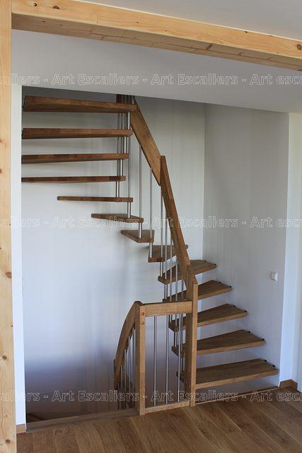 Escalier design suspendu 2 quarts tournant bois hetre ballustre inox 03 artes - Escalier design bois ...