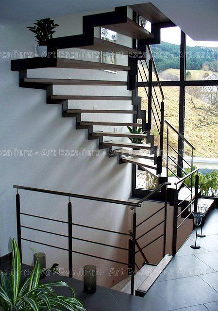 escalier limon metal 2 quarts tournants cremaillere acier. Black Bedroom Furniture Sets. Home Design Ideas