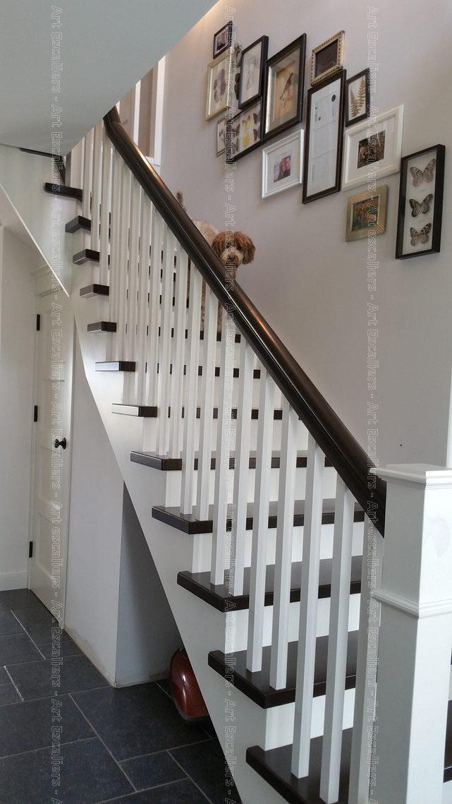 escalier traditionnel a l anglaise 1 quart tournat bois laque ballustre bois artescaliers art. Black Bedroom Furniture Sets. Home Design Ideas