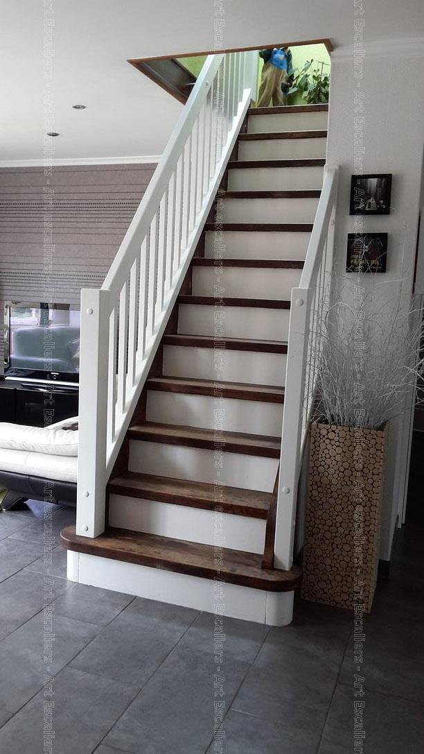 escalier traditionnel droit contre marche bois laque garde corps bois 01 artescaliers 2 art. Black Bedroom Furniture Sets. Home Design Ideas