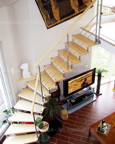 escalier_design-suspendu_1-quart-tournant_bois-bambou_garde-corps-inox-artescaliers