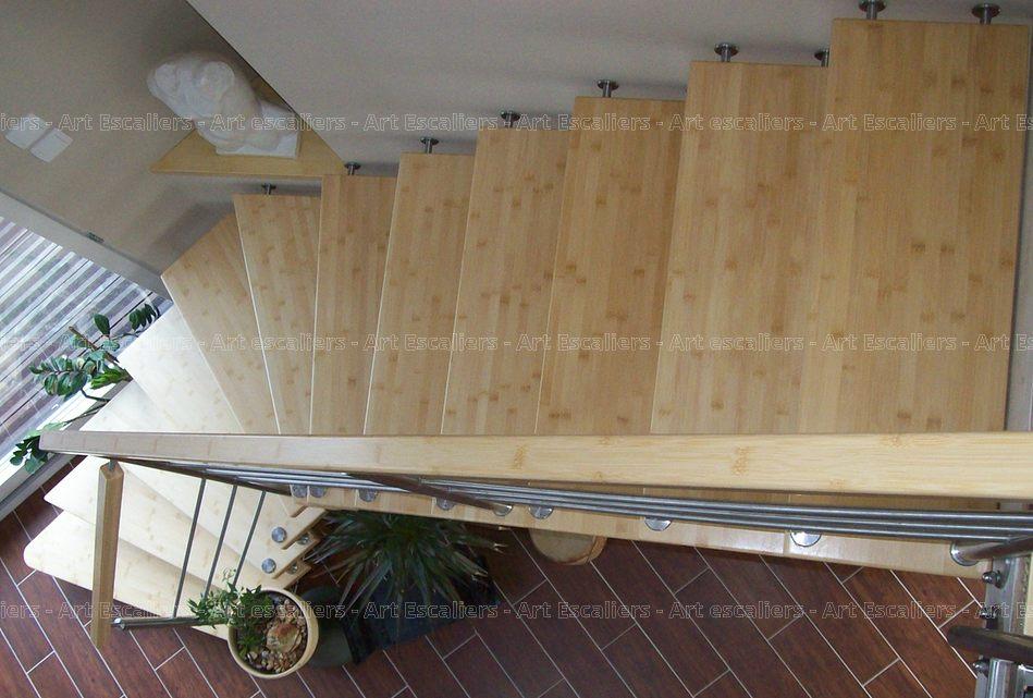 escalier design suspendu 1 quart tournant bois bambou. Black Bedroom Furniture Sets. Home Design Ideas