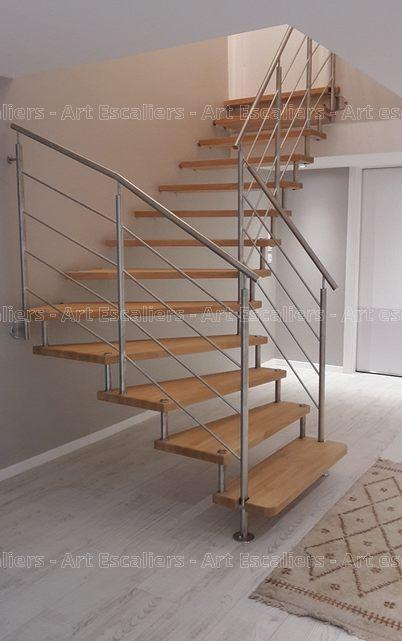 Escalier design suspendu 1 quart tournant bois hetre garde corps inox artesca - Escalier design bois ...