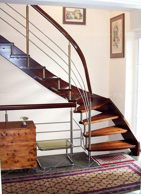 escalier design suspendu 1 quart tournant bois teinte. Black Bedroom Furniture Sets. Home Design Ideas