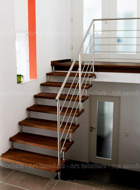 Escalier design suspendu droit bois teinte garde corps inox 02 artescaliers - Escalier design bois ...