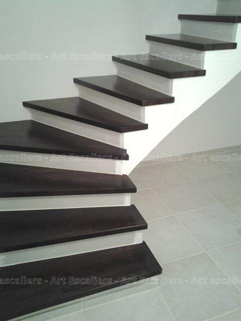 Escalier Design Habillage 1 Quart Tournant Bois Laque 01 Artescaliers 1 Art Escaliers