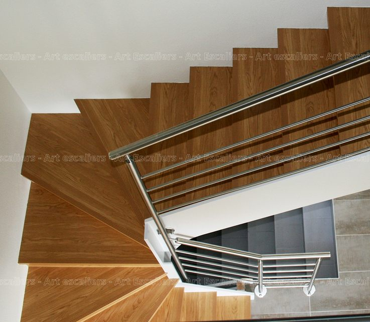 Escalier Design Habillage 2 Quarts Tournants Bois Chene Contre Marche Artescaliers Art Escaliers