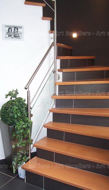 Escalier Design Habillage 2 Quarts Tournants Bois Teinte Artescaliers Art Escaliers