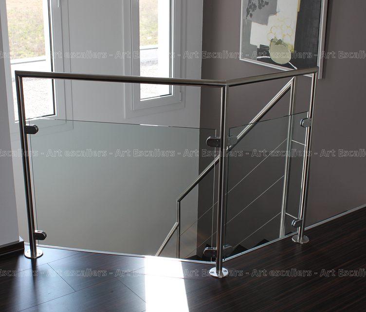 Garde-corps horizontal, bois - métal - inox - verre - Art Escaliers