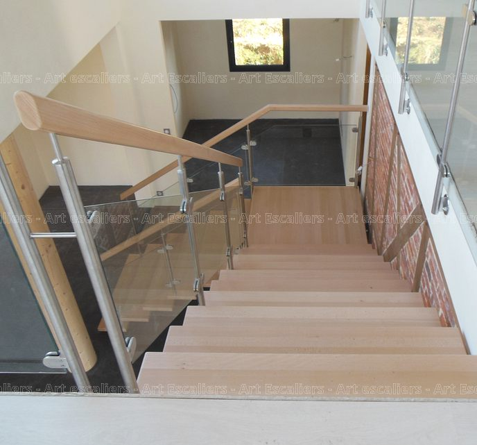 Escalier design limon central 1 quart tournant palier acier laque marches boi - Escalier acier limon central ...