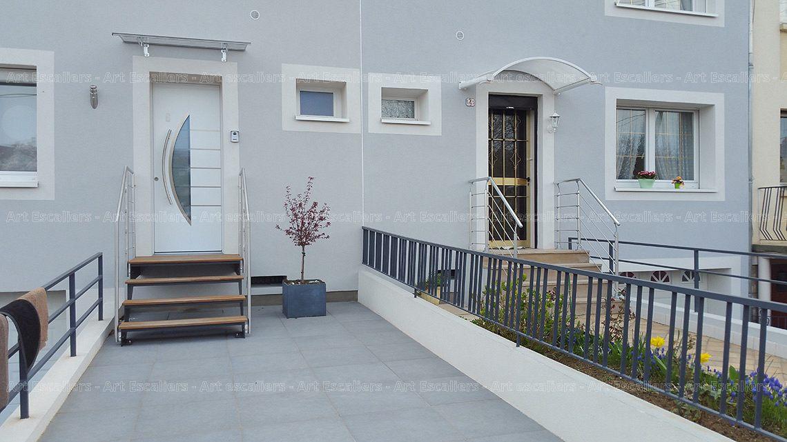 escalier exterieur acier laque droit marche bois garde corps inox 01 copie artescaliers art. Black Bedroom Furniture Sets. Home Design Ideas