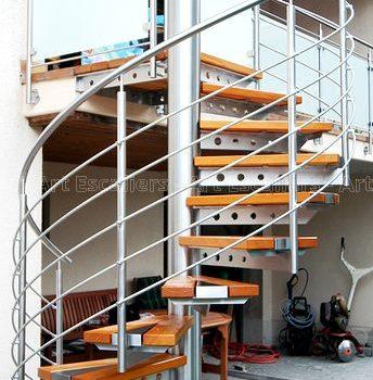 Escalier ext rieur bois m tal inox art escaliers for Escalier helicoidal exterieur