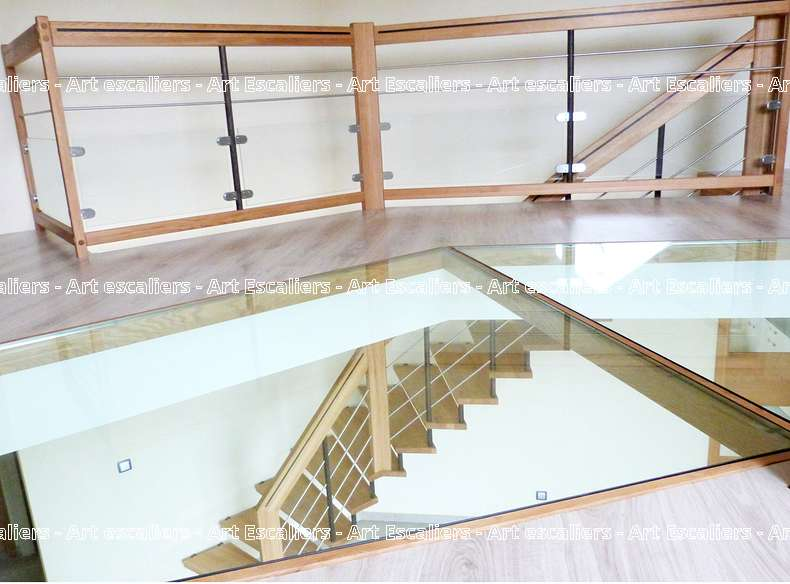 1 escalier suspendu acier bois inox art escaliers - Escalier suspendu bois ...