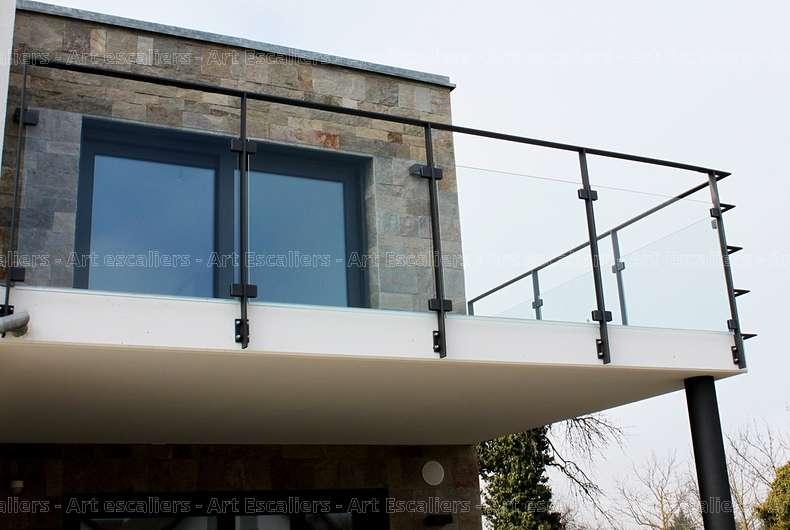 1 garde corps horizontaux exterieur bois verre inox laque for Garde corps exterieur verre