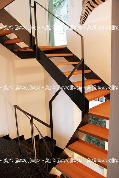 10 escalier design deux limon acier bois inox art escaliers - Limon acier escalier ...