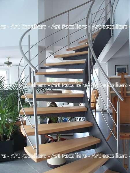 20 escalier design deux limon acier bois inox art escaliers - Limon acier escalier ...