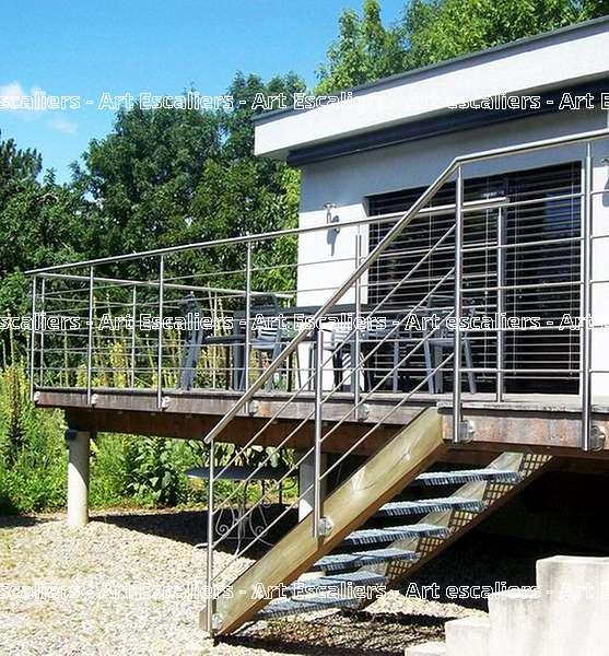 3 escalier exterieur bois inox acier caillebotis art for Escalier bois exterieur
