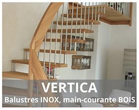 Vertica escalier suspendu bois fabriqué par Artescaliers