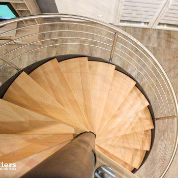 Escaliers-tournant-bois-acier-inox