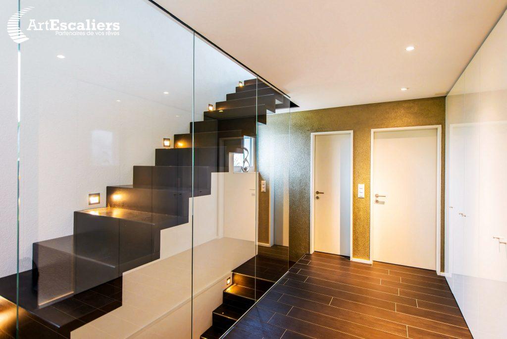 Art Escaliers suspendu design Kwadra gardę-corps full verre